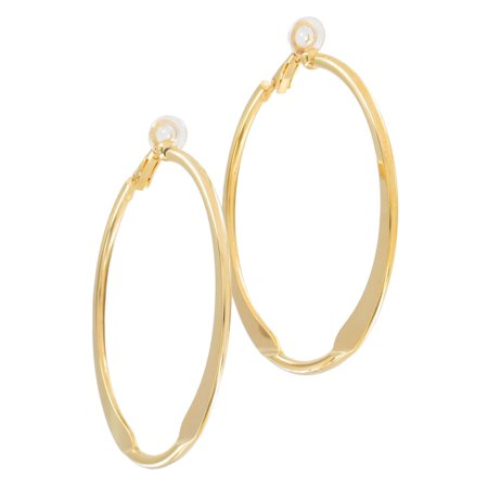 - Yellow Gold Tone Large Clip On Hoop 2 1/4