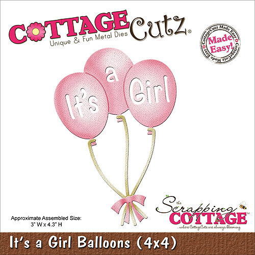 "CottageCutz Die, 4"" x 4"", It's A Girl Balloons"