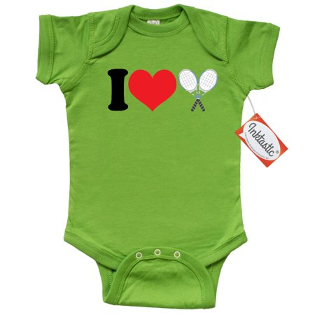 Inktastic I Love Heart Tennis Infant Creeper Baby Bodysuit sports racquet racket gift one-piece hws