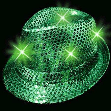 LED Flashing Fedora Hat with Green - Hats Fedoras