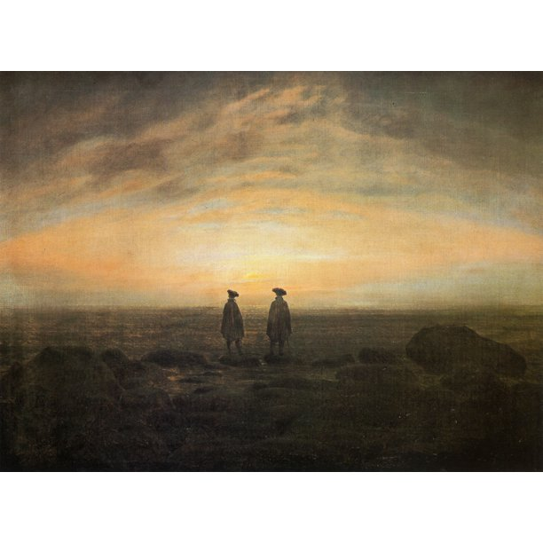Friedrich Caspar David Two Men By The Sea At Moonrise 12 Inch By 18 Inch Laminated Poster With Bright Colors And Vivid Imagery Fits Perfectly In Many Attractive Frames Walmart Com Walmart Com