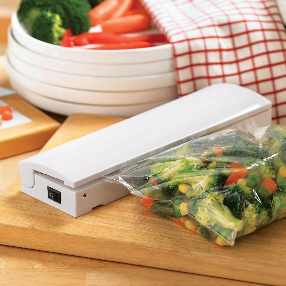 Click here to buy Eutuxia Heat Sealer Machine with LED Seal Indicator for Airtight Food Storage. Portable Kitchen Tool. Reseal Plastic for Longer Freshness.....