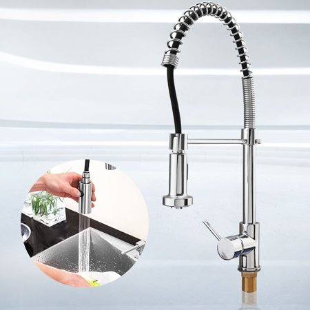 Single Hole Mount Kitchen (Chrome Pull Down Vessel Kitchen Faucet Deck Mount Single Hole Sink Mixer Tap )