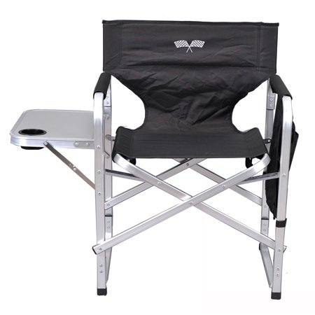 Stylish Camping Outdoor Folding Director S Chair W Full Back Black Flag