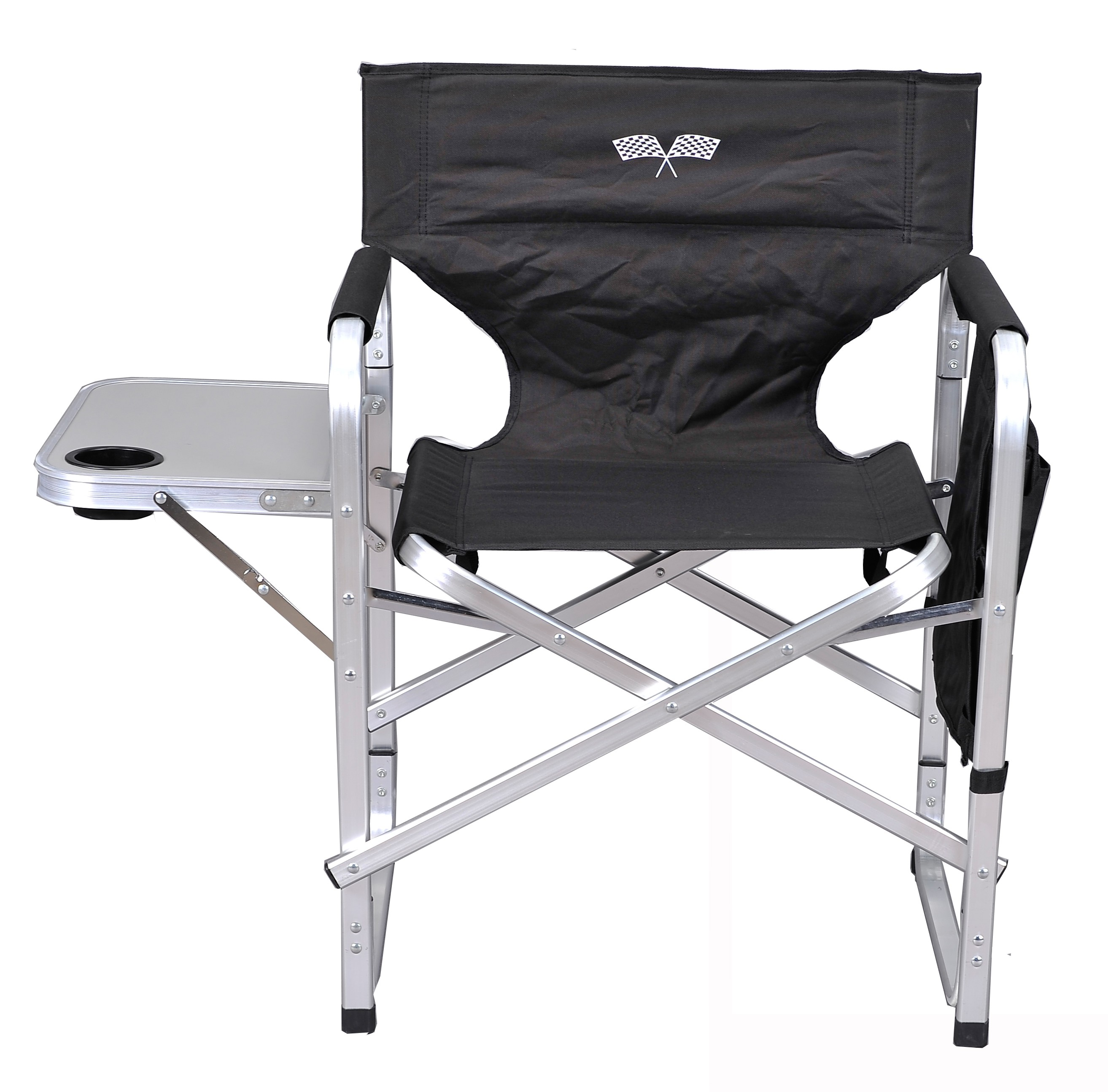 Stylish Camping Outdoor Folding Director's Chair w/ Full Back - Black/Flag