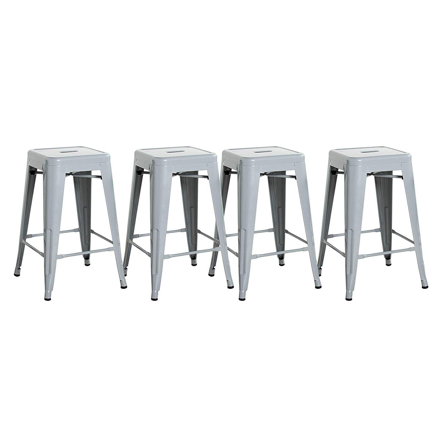 Cap Living 24 Inches Stackable Sturdy Square Seat Metal Bar Stools