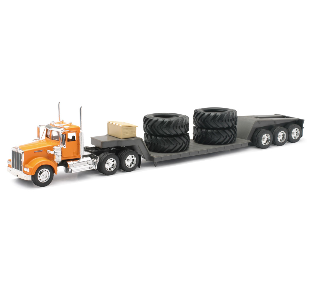 1:32 Scale Kenworth W900 Trailer Lowboy W/Big Tires