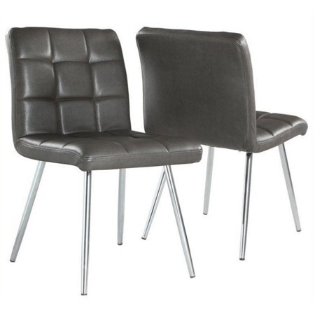 Atlin Designs Faux Leather Dining Chair in Gray and Chrome (Set of 2) Chrome Two Seat Chair