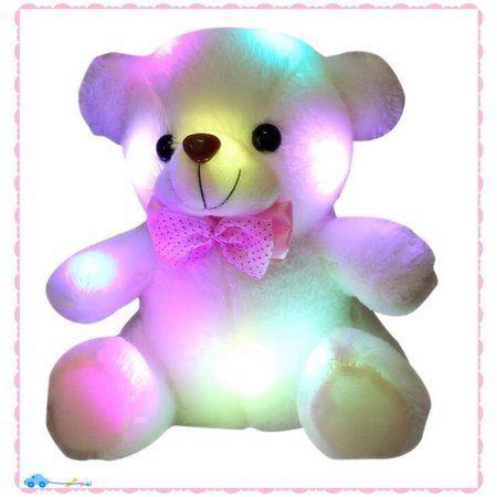 8 Inch Colorful Talking Teddy Bear Light Up Glowing Animated Plush Stuffed Animal Christmas Kid Holiday Décor
