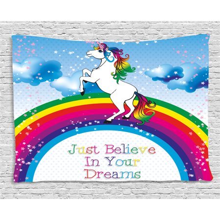 - Kids Tapestry, Unicorn Surreal Myth Creature before Rainbow Clouds Star Fantasy Girls Fairytale Image, Wall Hanging for Bedroom Living Room Dorm Decor, 60W X 40L Inches, Multicolor, by Ambesonne