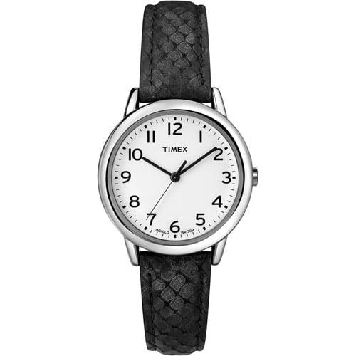 Timex Women's Animal Print Watch, Black Python Patterned Leather Strap