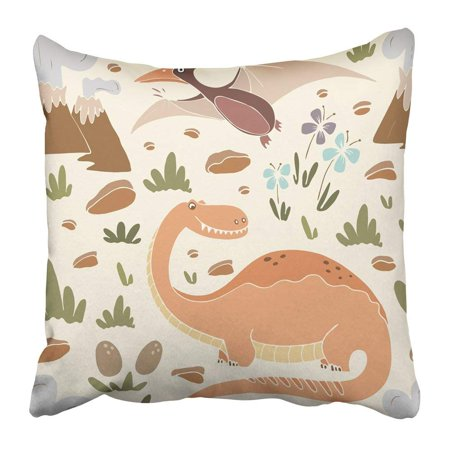ARTJIA Funny Dinosaurs in Cartoon Style Perfect Party Kindergarten Preschool and Children Room Pillowcase 20x20 inch