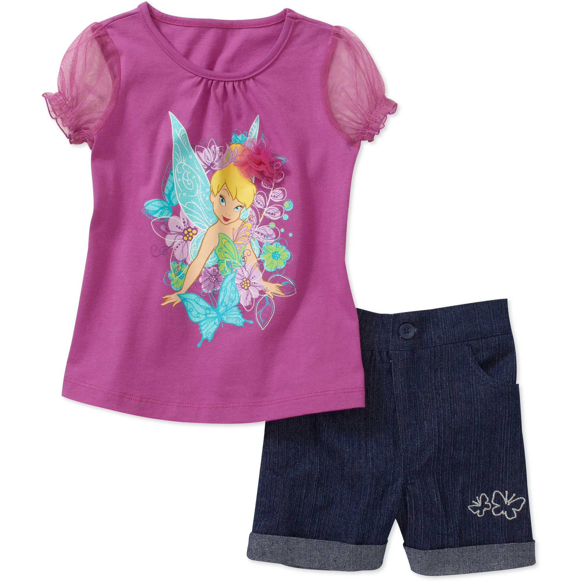 Disney Baby Girls' 2 Piece Tinkerbell Tee and Glitter Short Set