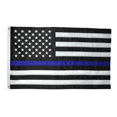 Shop72- Embroidered Stars Sewn Stripes USA Thine Blue Line Flag 5 x 8 Ft - 210D Oxford Nylon Police Thin Blue