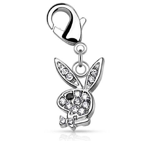 CZ Paved Playboy Bunny with Lobster Claw for Belly rings, Bracelets and More Carm