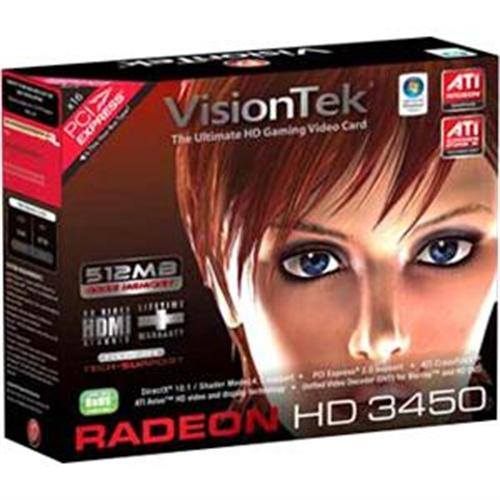 VisionTek Radeon 3450 512MB DDR2 PCI (DVI-I, VGA, TV Out)...
