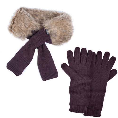 MUK LUKS ® Fur Neck Wrap with Texting Glove- Eggplant