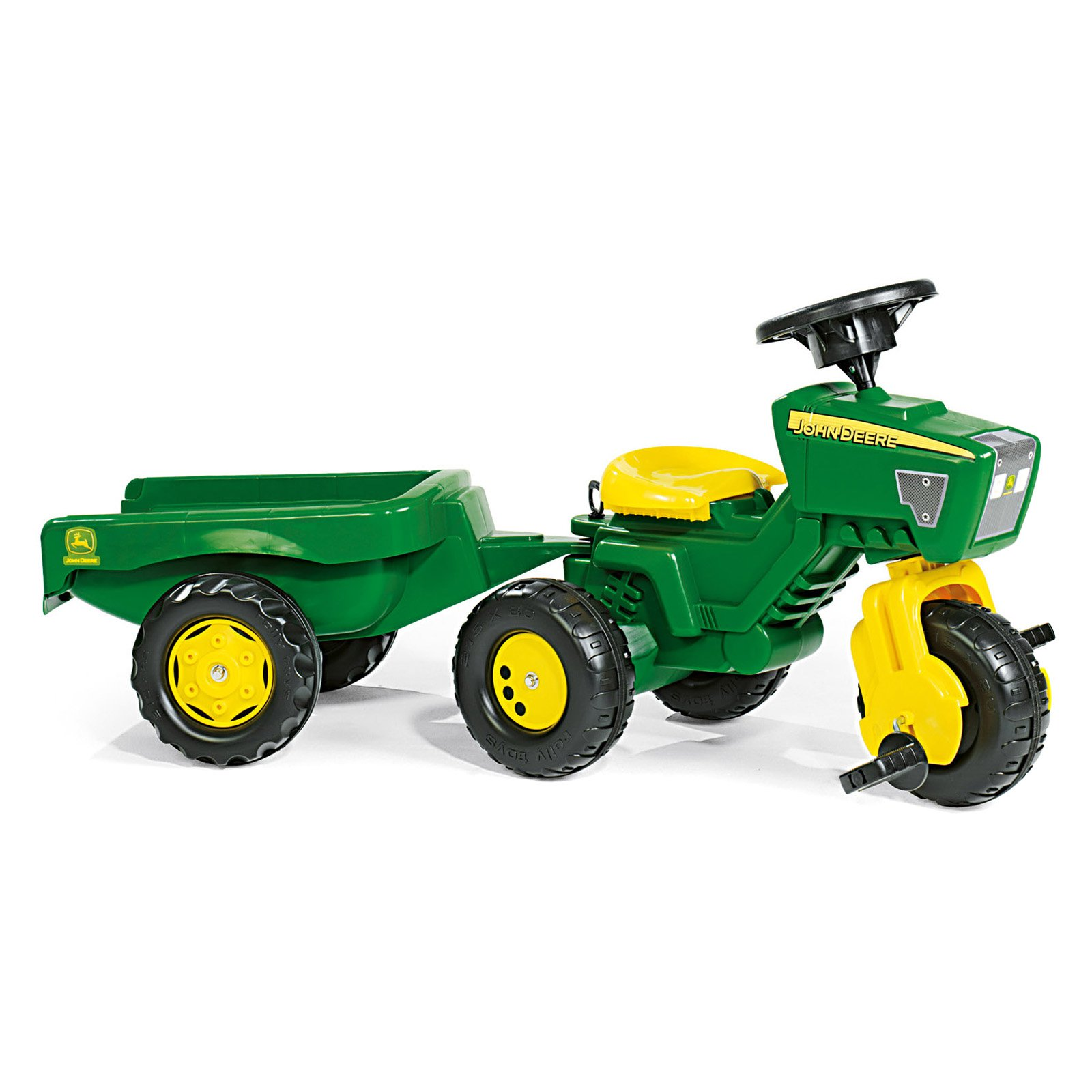 John Deere 3 Wheel Tractor with Trailer Pedal Riding Toy