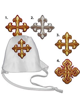 Baby Toddler Boy Christening Baptism White Hat Gold Silver Red Embroidered Cross