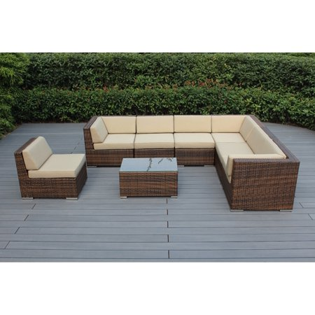 Ohana 8 Piece Outdoor Wicker Patio Furniture Sectional Conversation Set - Mixed Brown Wicker ()