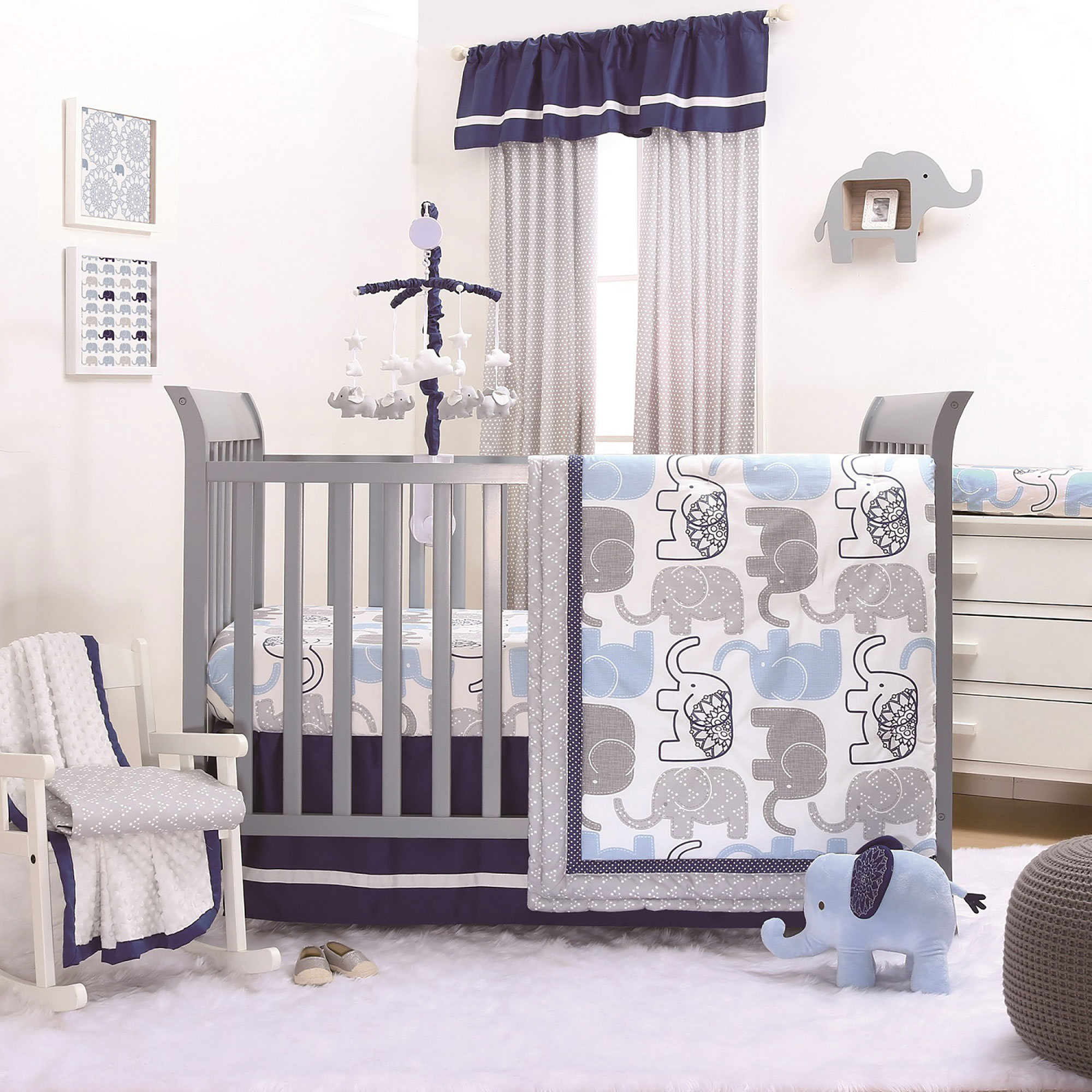 The Peanut Shell 4 Piece Baby Boy Crib Bedding Set - Little Peanut Navy Blue and Grey Elephants - 100% Cotton Fabrics
