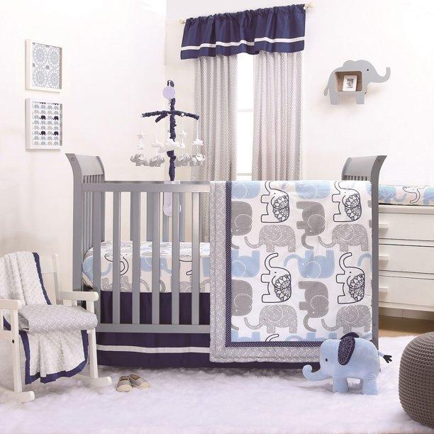 Little Peanut Navy Blue And Grey, Cheetah Print Baby Bedding Set