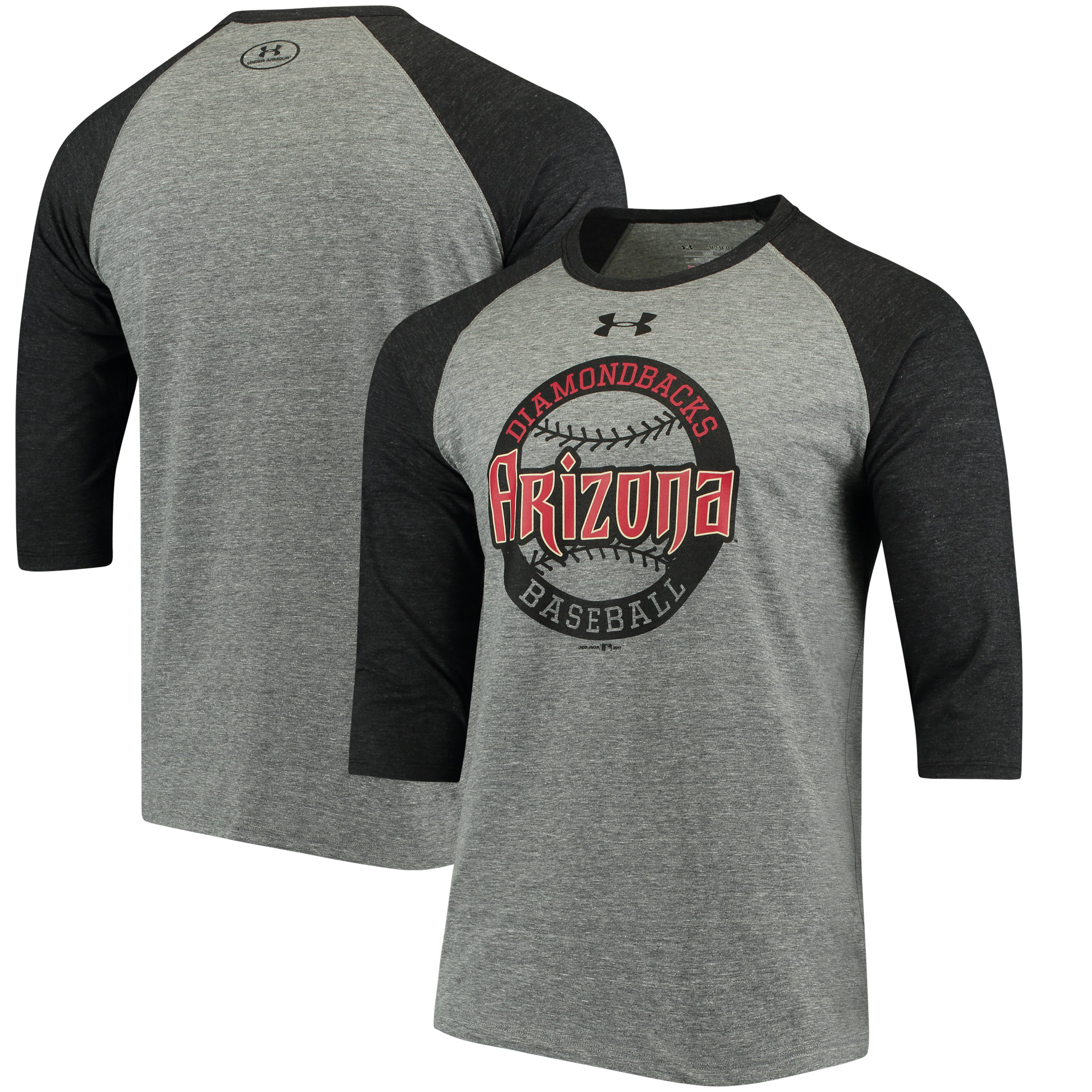 Arizona Diamondbacks Under Armour Baseball 3/4-Sleeve Tri-Blend T-Shirt - Gray/Black