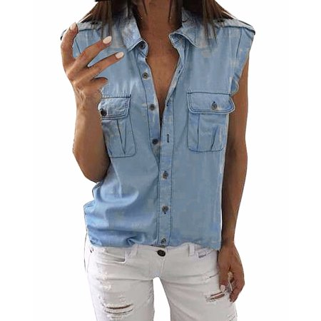- Womens Fashion Sexy Sleeveless Jeans Denim Blue Buttons Pockets Shirts