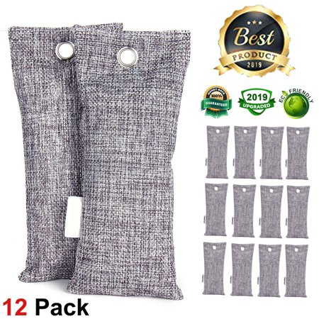 12 pks LIGHTSMAX Natural Bamboo Activated Charcoal Air Purifying Bags, Shoe Deodorizer and Odor Remover, 100% Chemical-Free and Natural Non-Toxic