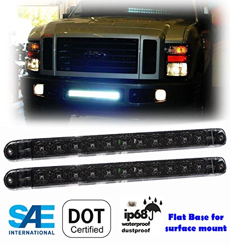 """Pair ( 2 Pieces ) White 17"""" LED Waterproof Light Bar as Backup Reverse Dome Interior Side Marker for Truck Trailer Tractor Jeep RV Flat Base Surface Mount DOT SAE Approved"""