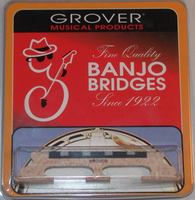 Grover Acousticraft Tenor Banjo Bridge, 5 8' High-3 Legged, Maple w  Ebony, 91 by Grover