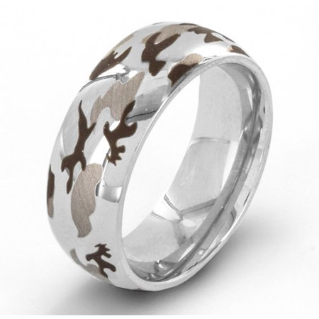 Stainless Steel Laser Etched Camouflage Ring