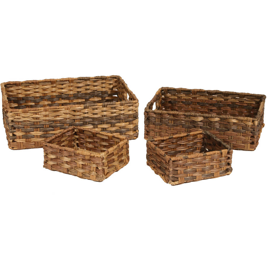 Seville Classics Handwoven Nesting Storage Basket 4-Piece Assortment, Mocha