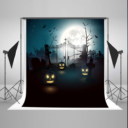 MOHome Polyster 5x7ft Night Moon Halloween Photo Booth Props Background Pumpkin Face Photography Backdrops (Halloween Moon Faces)