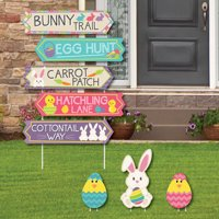 Hippity Hoppity - Street Sign Cutouts - Easter Bunny Party Yard Signs & Decorations - Set of 8