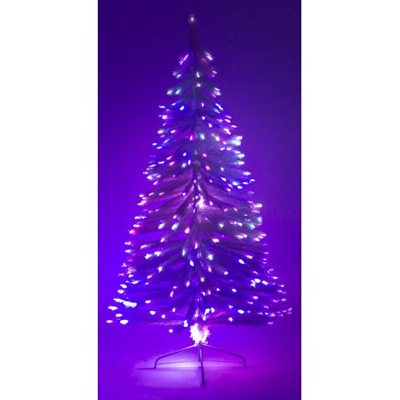 7' Ft White Artificial Holiday Christmas Tree w/ Fiber Optic Multi-Colored Light ()