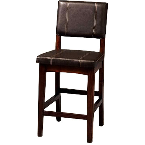 Linon Milano Counter Stool, Walnut, 24 inch Seat Height