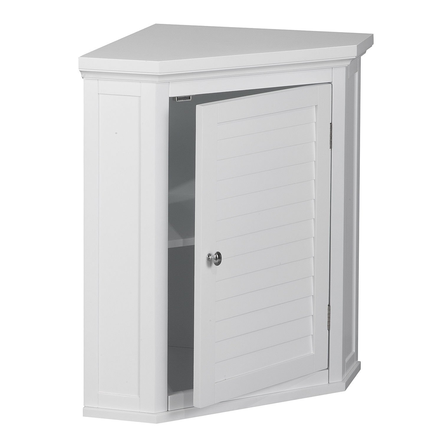 White Shutter Door Corner Wall Storage Medicine Cabinet with Adjustable Shelves for Bathroom or Kitchen SALE! Chrome... by Elegant Home Fashions