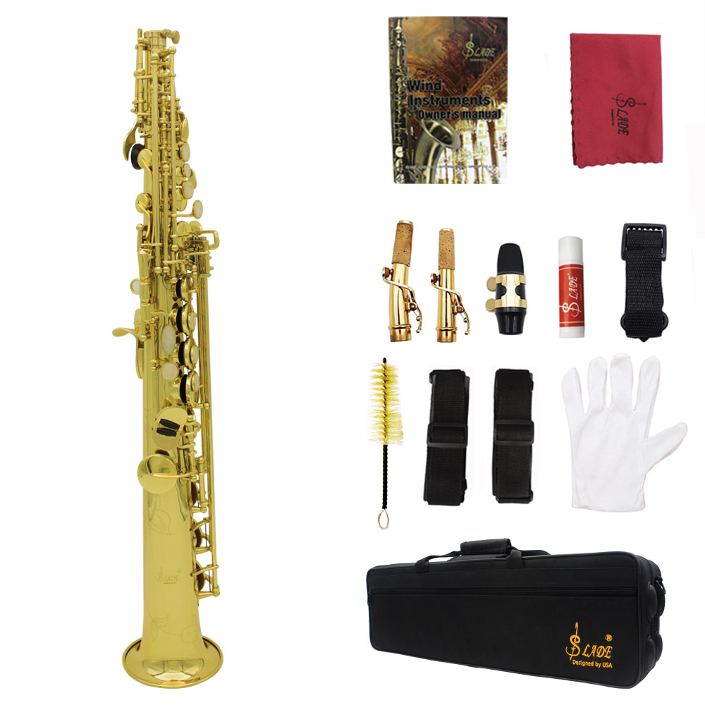 LADE Soprano Saxophone SAX Bb Brass Lacquered Gold Body and Keys with Lubricating Cork... by
