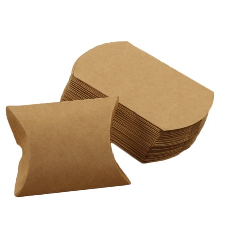 Andaz Press Pillow Favor Boxes, Natural Kraft in Bulk 50-Pack Count, Eco Chic Favor Box Packaging Ideas, Container