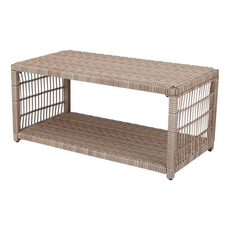 Large Natural Wicker - Better Homes & Gardens Meadow Lake Rectangular Patio Wicker Coffee Table