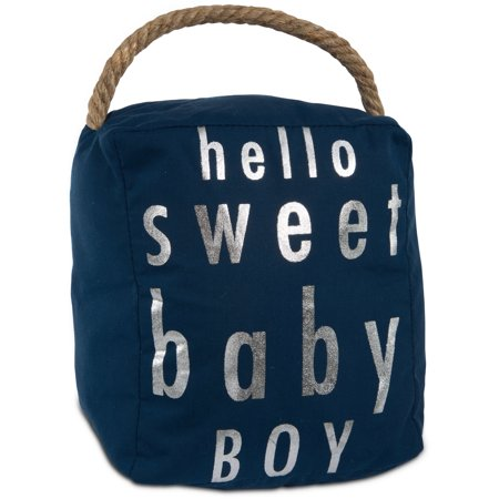 Pavilion - Hello Sweet Baby Boy Room Decor Navy Blue & Silver Door Stopper with - Sweet Stock