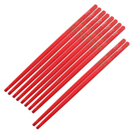 Red Bamboo (Bamboo Rose Pattern Chinese Style Wedding Gift Chopsticks Red 5)