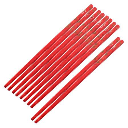 Bamboo Rose Pattern Chinese Style Wedding Gift Chopsticks Red 5 Pairs