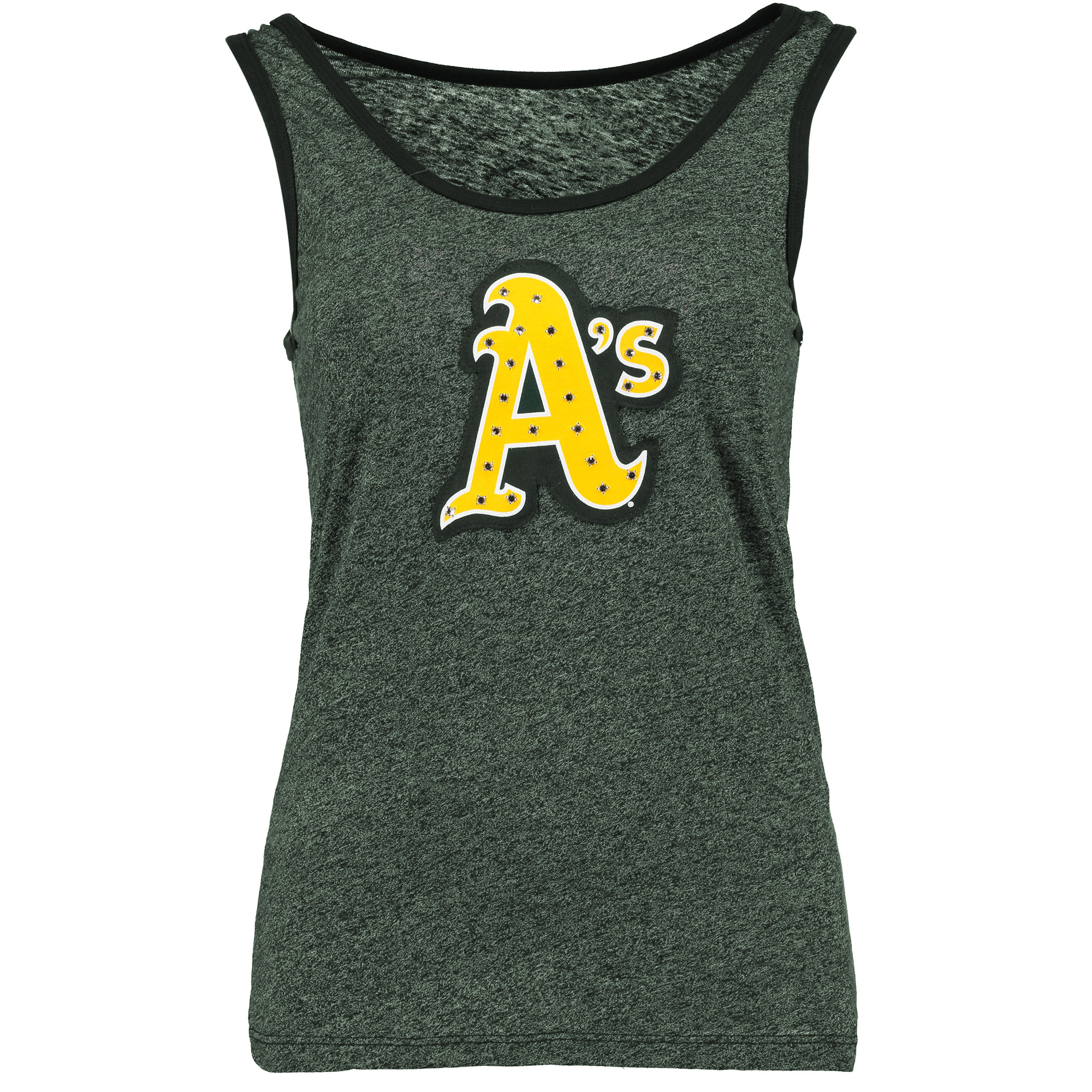 Oakland Athletics Majestic Threads Women's Tri-Blend Tank Top with Bling Applique - Green