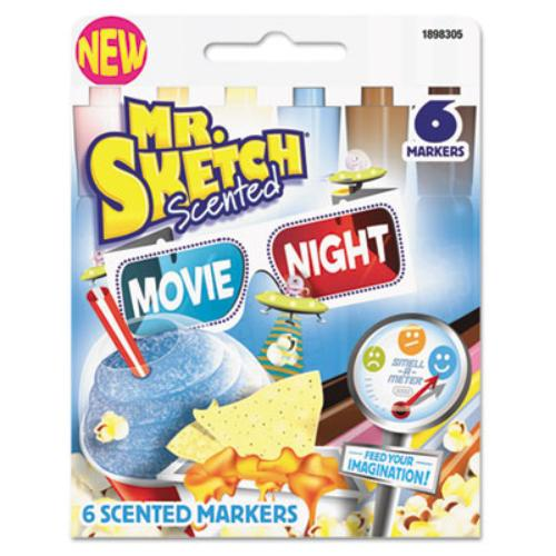 Sanford 1898305 Scented Watercolor Marker, Chisel Tip, 6 Movie Night Colors, 6/set