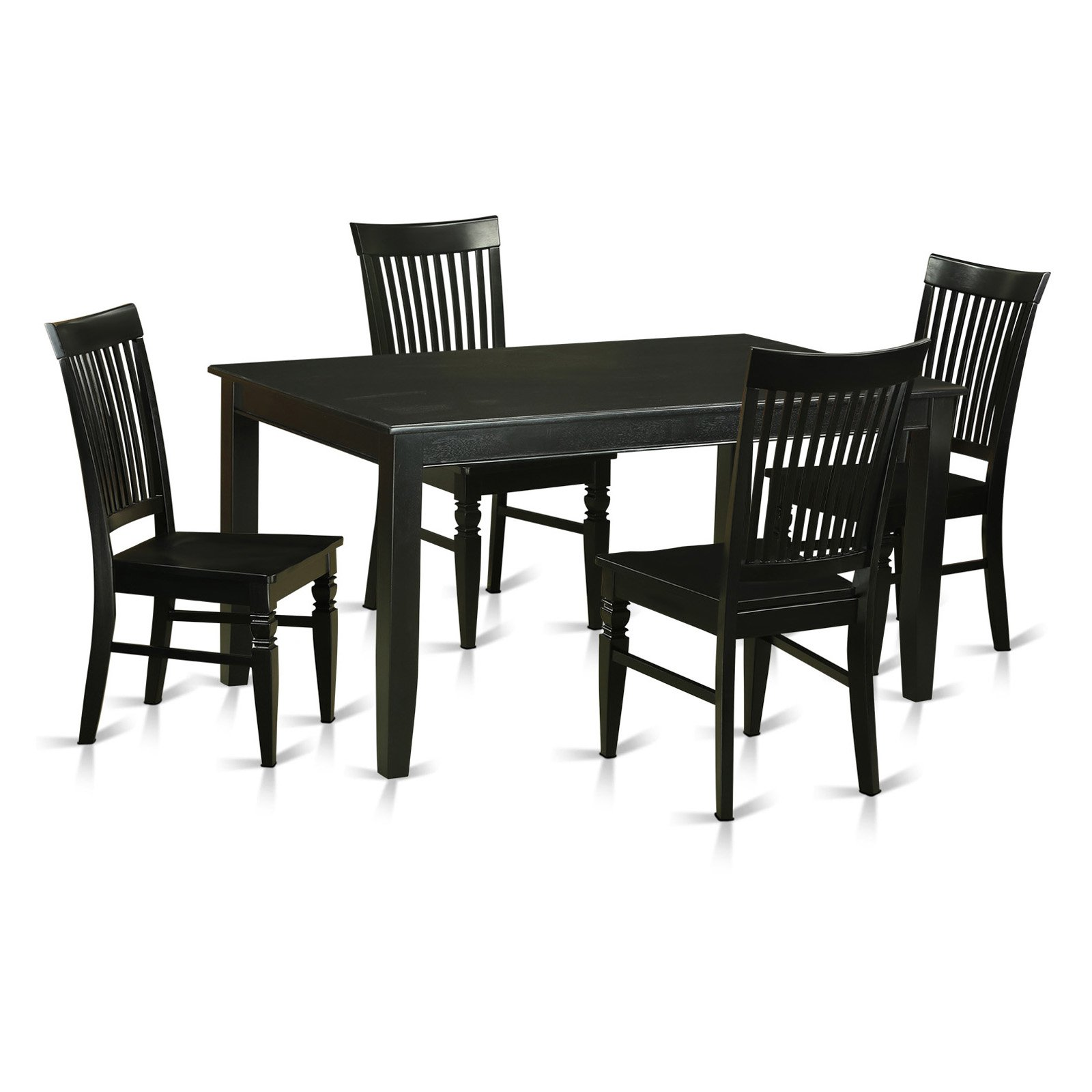 East West Furniture Dudley 5 Piece Rectangular Dining Table Set with Weston Wooden Chairs