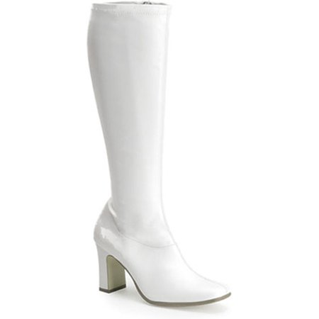 Womens Retro Boots 3 1/4 Inch Sexy White Stretch Go Go Boot Hippie Costume Shoe
