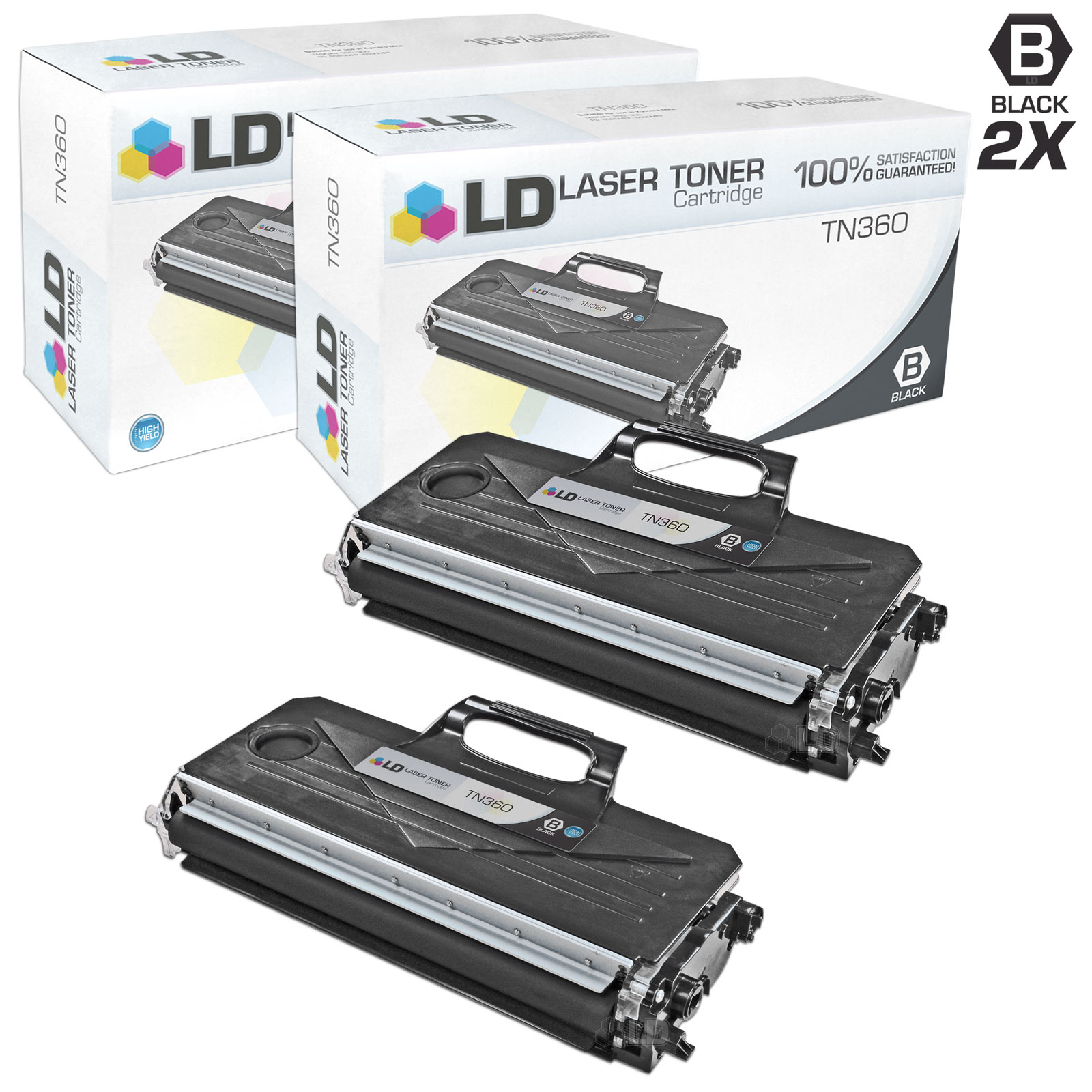 LD Compatible Brother TN360 (TN330) Set of 2 Black Toner Cartridges for DCP-7030, DCP-7040, DCP-7045N, HL-2140,