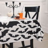 Black Bats Halloween Plastic Party Tablecloth, 84 x 54in